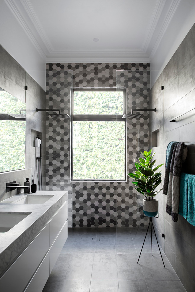 geometric tile pattern creates a wall that makes a statement (GIA Bathrooms & Kitchens)