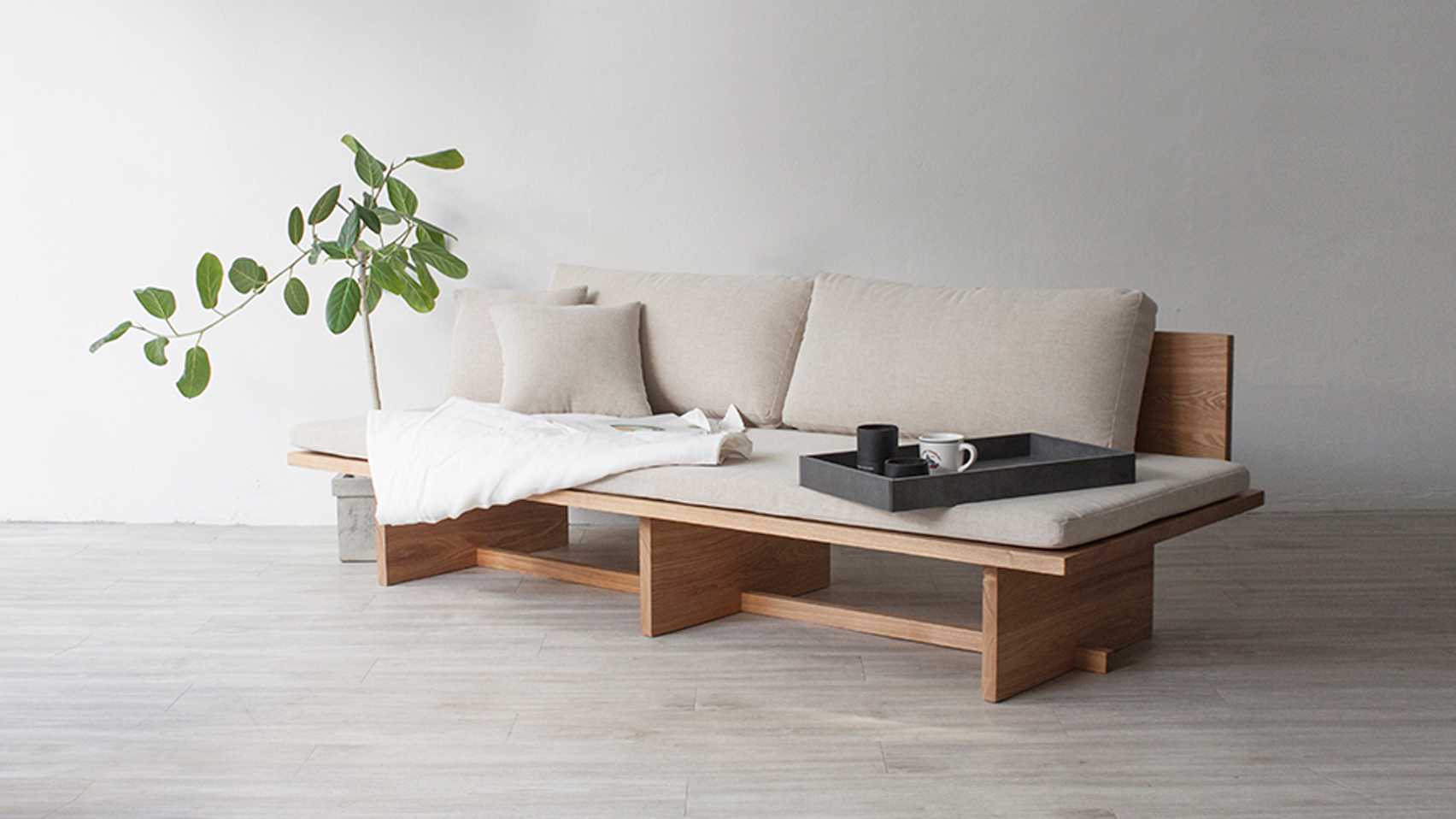 Blank daybed or sofa is based on traditional Korean furniture drawings and it mixes modern Western and traditional Eastern views