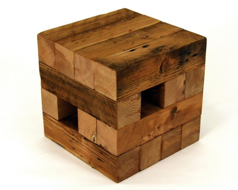 Koper Reclaimed End Table From Recycled Wood