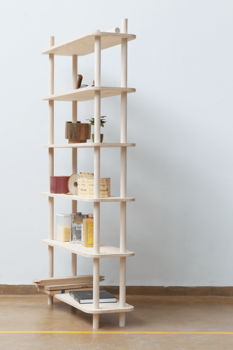 TS1 is a modern modular shelving system on wooden rods is easy to assemble and disassemble
