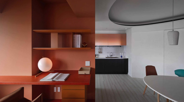 This modern colorful apartment was inspired by paper patterns used in fashion