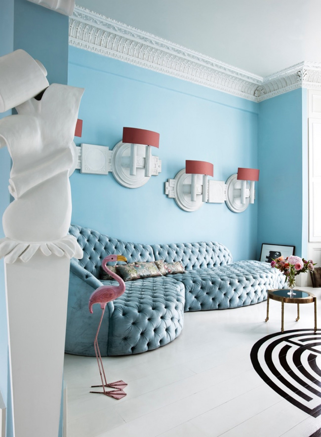 Eclectic Apartment Done In Light Blue Shades
