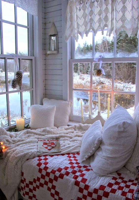 cozy Scandinavian-inspired winter nook by the window
