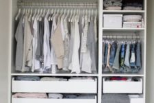 02 even if the unit is with open storage, you can always insert some drawers and boxes to declutter the closet