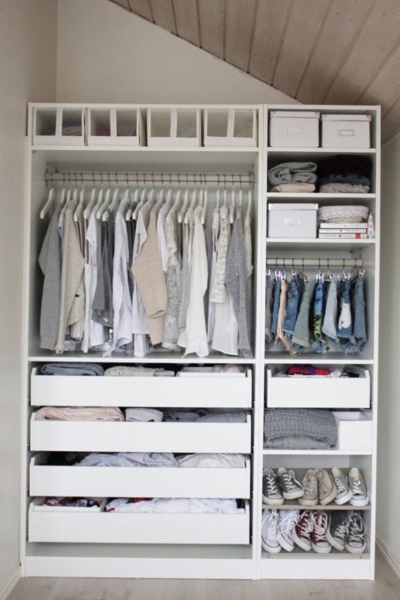 even if the unit is with open storage, you can always insert some drawers and boxes to declutter the closet
