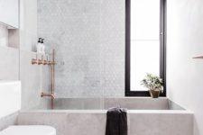 02 rectangular concrete bathtub looks great with marble tiles