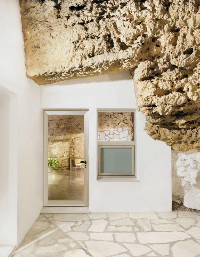 Cave elements stand out beautifully against stark white and create a bold contrast