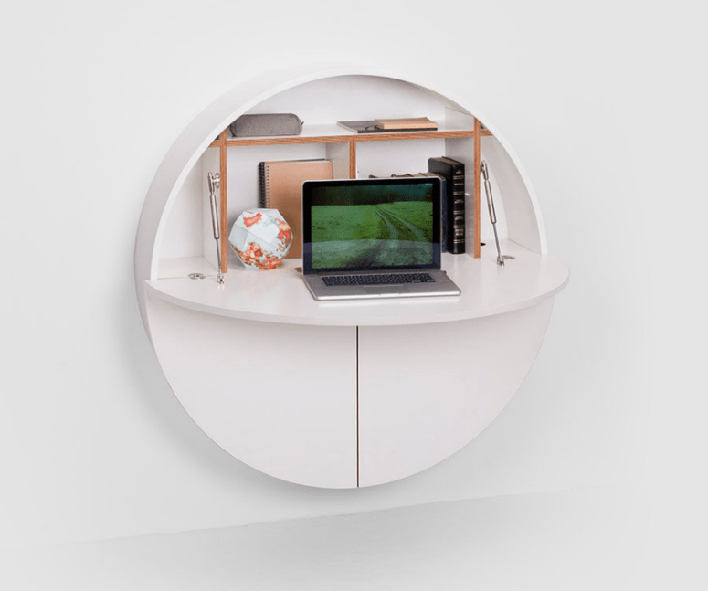 Here you can accomodate everything you want including a small desk top and some storage space