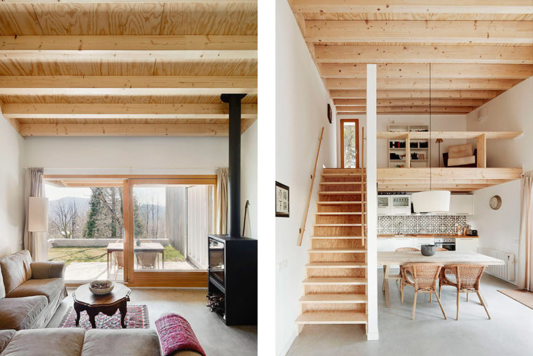 Cost effective prefab summer home in the pyrenees digsdigs for Inviting interiors