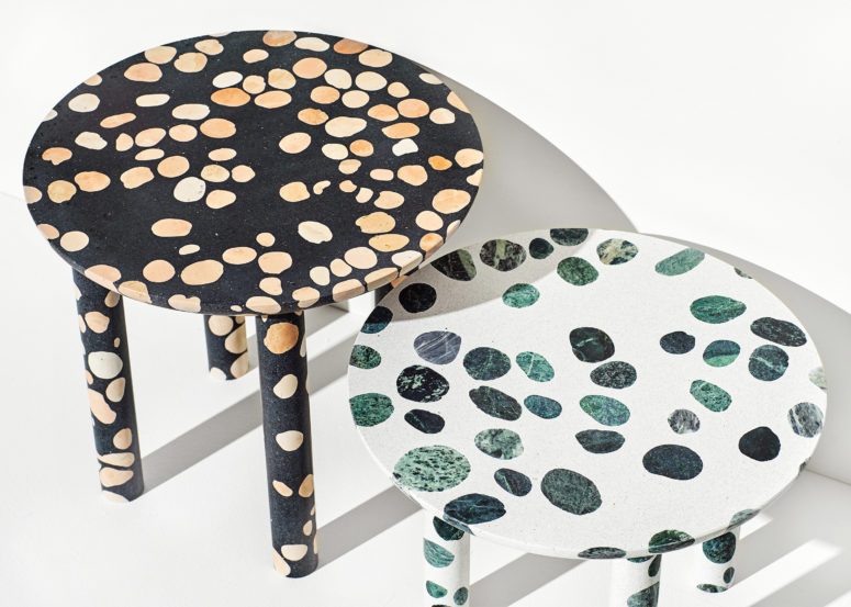 The unique spotted look of these pieces make them stand out and become a focal point in any interior