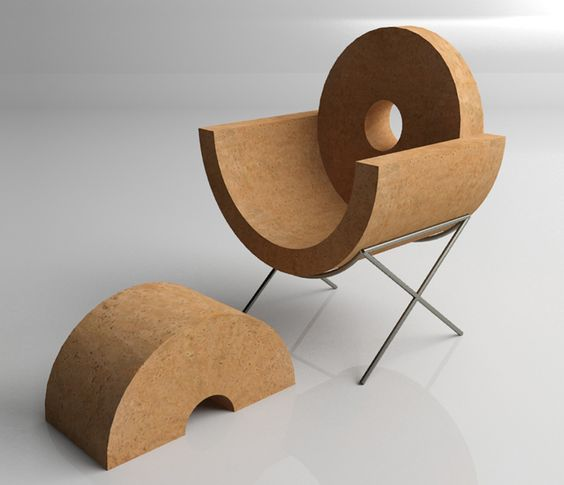 a cork chair and a foot stool with laconic and simple design
