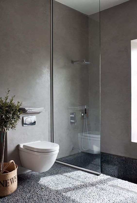 concrete bathroom walls are a trendy and practical solution