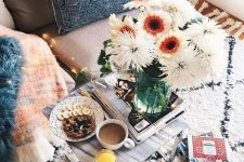 03 textured upholstery and a fluffy rug make this nook cozier