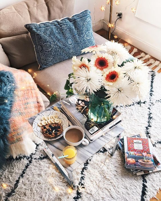 textured upholstery and a fluffy rug make this nook cozier