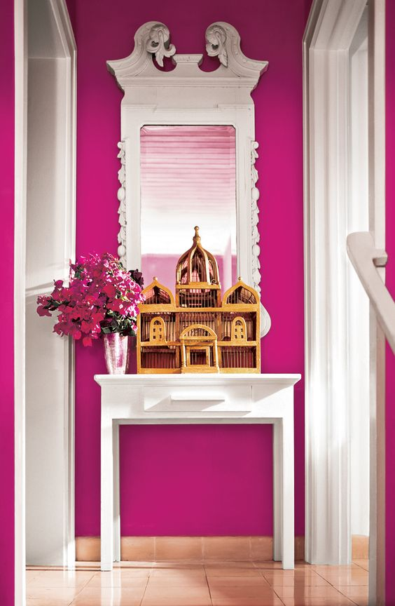 a whimsy girlish entryway done in fuchsia color