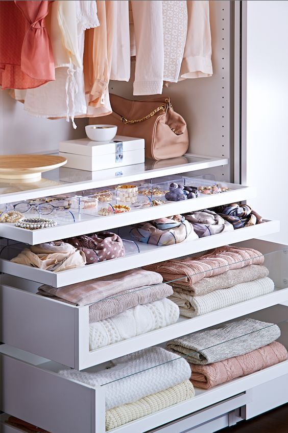 drawers with glass or just sheer parts are ideal because you can easily find everything you want