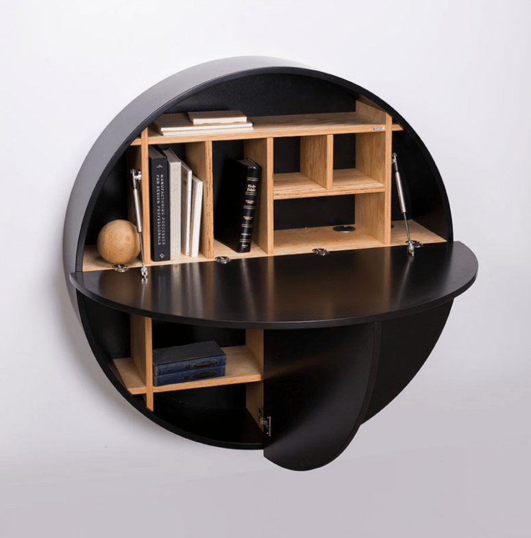The desk is also available in black, with the same warm-colored wood shelves inside