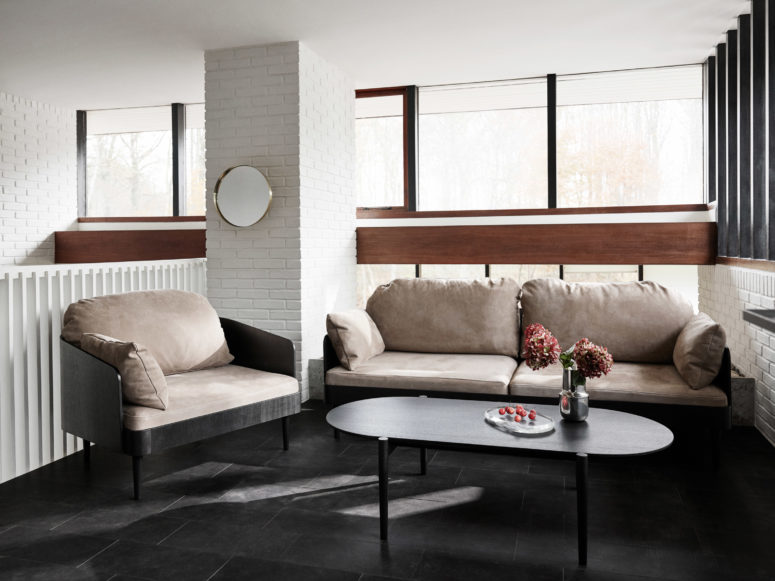 This sofa and chair were inspired by the tailor shop memories of the designer