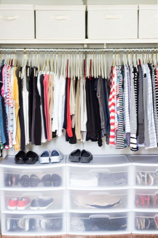 plastic boxes for shoes will keep them clearly seen, declutter your closet and they will take less floor space