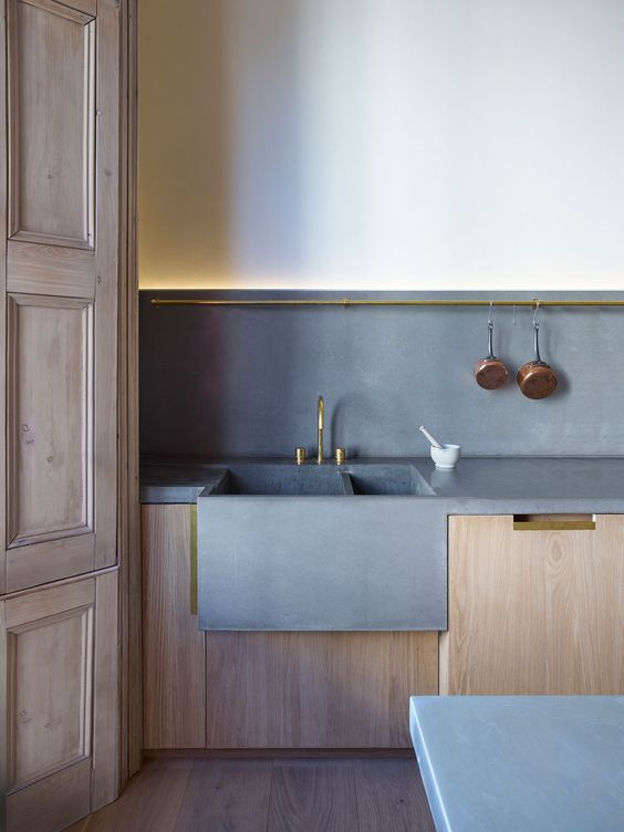 concrete sink and countertops that echo with each other
