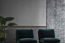 06 emerald velvet upholstery makes a statement here