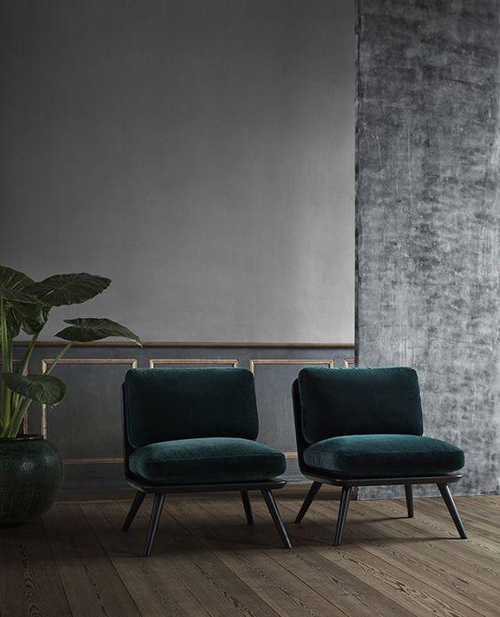 emerald velvet upholstery makes a statement here