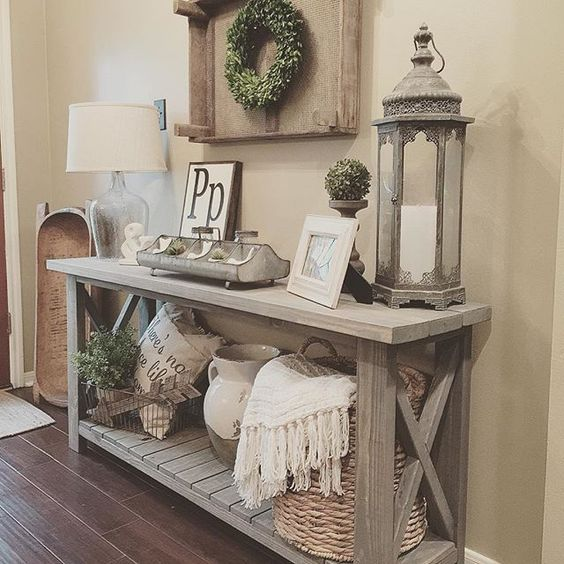 High Quality Farmhouse Console Table Vignette With A Storage Shelf