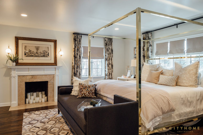 The master bedroom is done in cream and chocolate brown, just several prints make it bolder