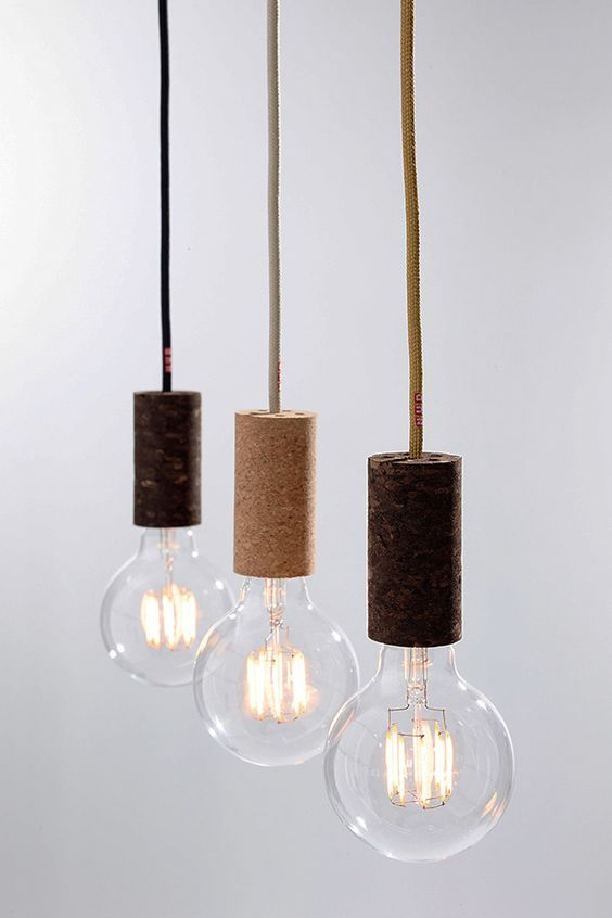 bulb holders made of cork of different shades