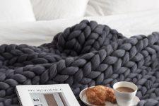 07 super chunky merino wool blanket in dark grey