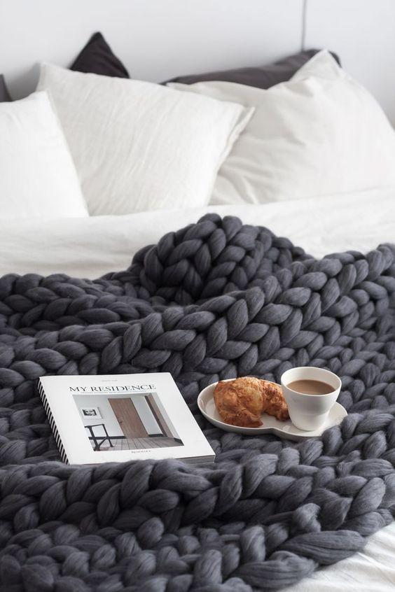 super chunky merino wool blanket in dark grey
