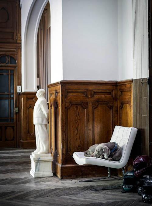 The original oak panels and ash grey chevron clad floors were kept for a refined feel