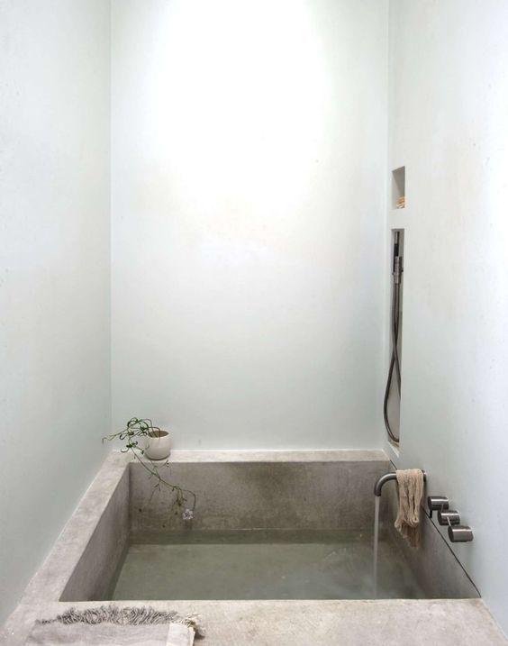 a square soak concrete bathtub for your home spa