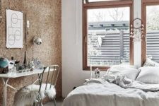 08 chunky cork wall that looks almost like wood paneling
