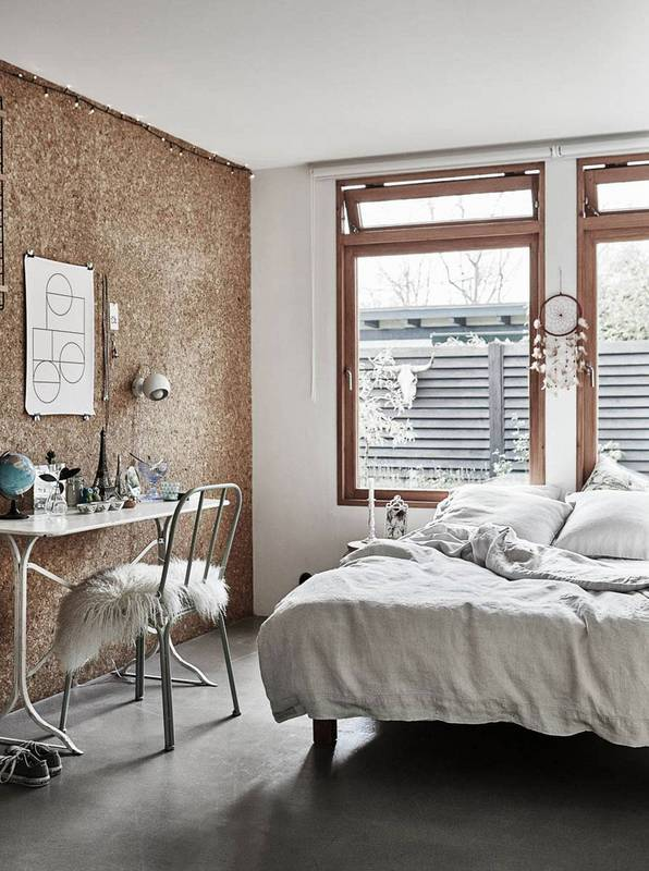 chunky cork wall that looks almost like wood paneling
