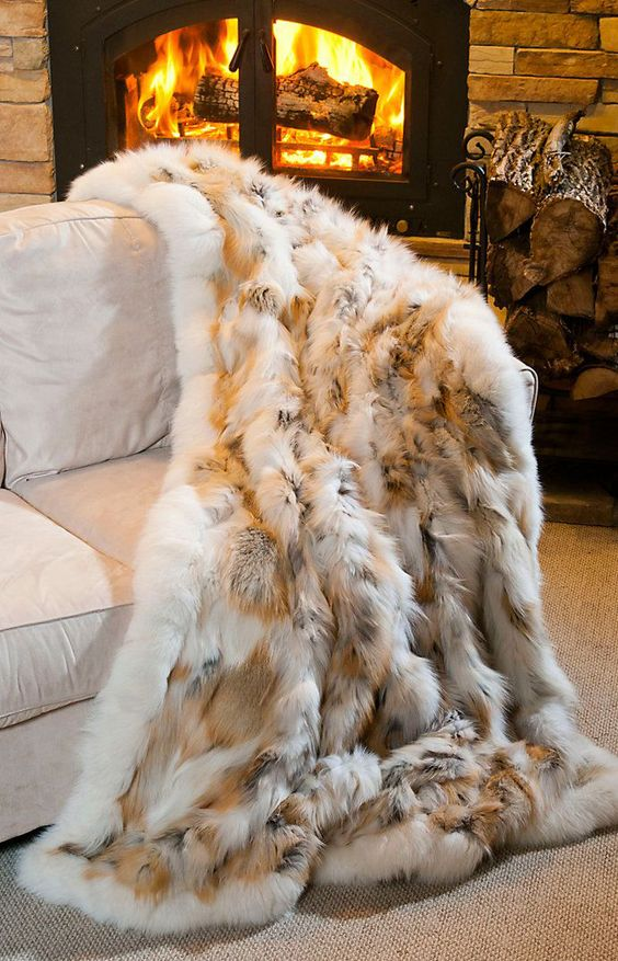 fur blanket is a very cozy thing and looks luxurious in any interior