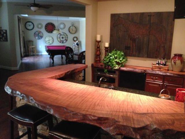 live edge natural wood countertop