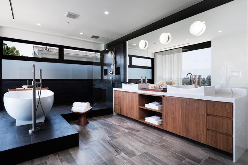 cozy bathroom design with lots of wood