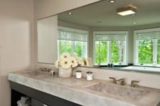 09 single monolith countertop and two sinks for a large bathroom