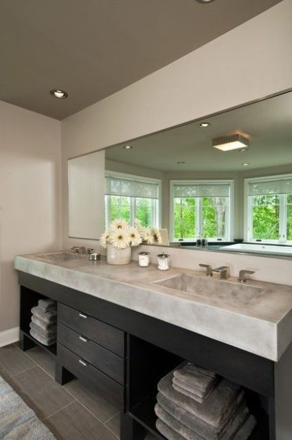 single monolith countertop and two sinks for a large bathroom