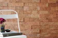 10 cork tiles can look like bricks and give an industrial flavor to your space