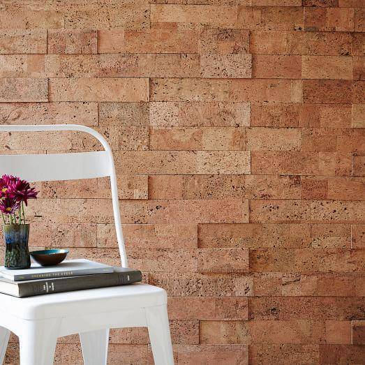 cork tiles can look like bricks and give an industrial flavor to your space