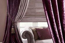 10 deep purple velvet curtains create a mood in this room