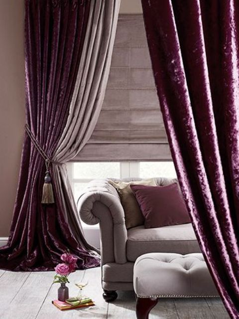 Deep Purple Velvet Curtains Create A Mood In This Room