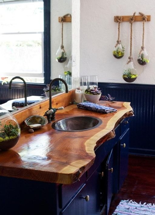 navy bathroom with succulent terrariums is made cozier with a raw wood edge countertop