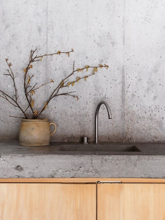 concrete countertop and a sink in one are ideal for modern kitchens