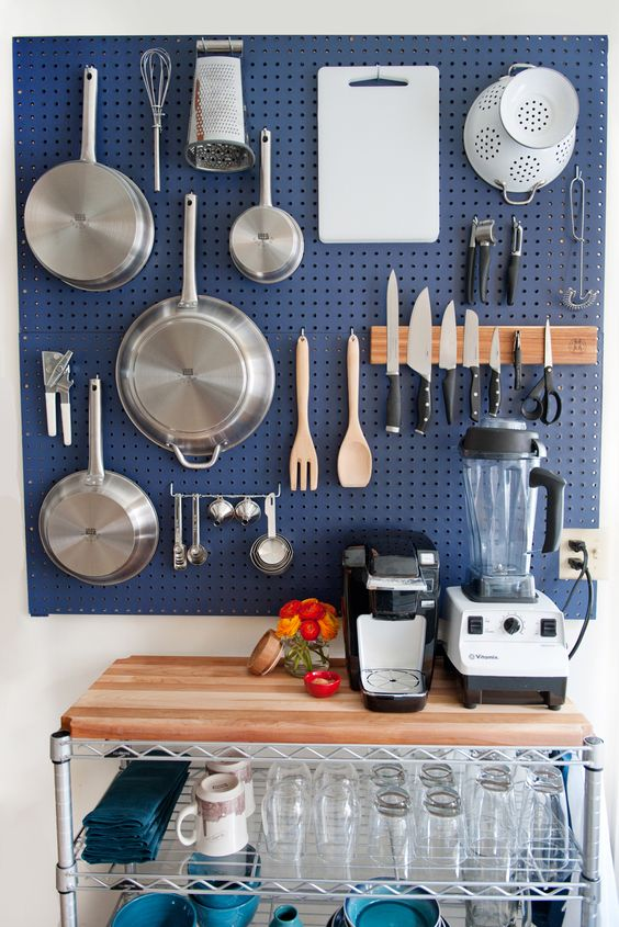 navy pegboard for the cooking station