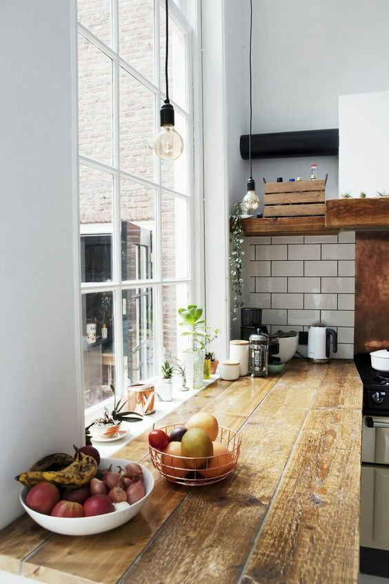 old floor repurposed into kitchen counter that looks fabulous