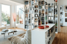 11 such tall shelving units are ideal for storage, separating and still let the light in