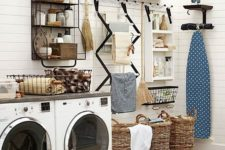 12 wall drying system aand baskets for clothes look nice and keep the space in order